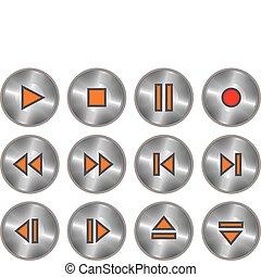 ボタン, ベクトル, セット, 金属