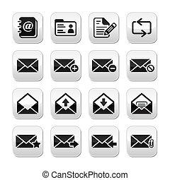 ボタン, ベクトル, セット, 電子メール, メールボックス