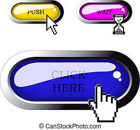 ボタン, ベクトル, ピクセル, カーソル