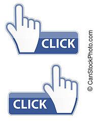 ボタン, ベクトル, マウス, 手, カーソル, クリック, イラスト