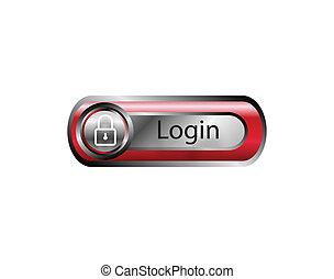 ボタン, ベクトル, ログイン, 赤, アイコン