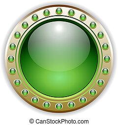 ボタン, ベクトル, 緑, グロッシー, イラスト