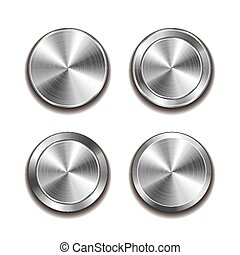 ボタン, ベクトル, 金属, 隔離された, 白