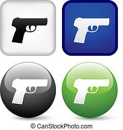 ボタン, ベクトル, 銃