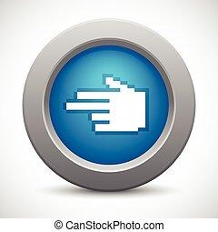 ボタン, ポインター, ピクセル, 手