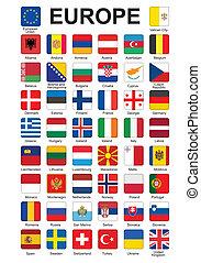 ボタン, ヨーロッパ, 旗