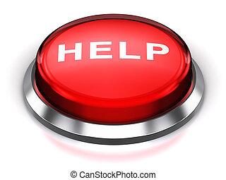 ボタン, ラウンド, 赤, 助け