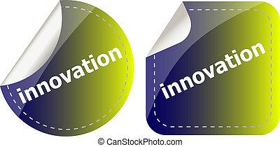 ボタン, ラベル, 革新, ステッカー, セット, 単語