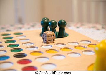 ボタン, 上に, テーブルのゲーム, フィールド, ∥で∥, ダイス