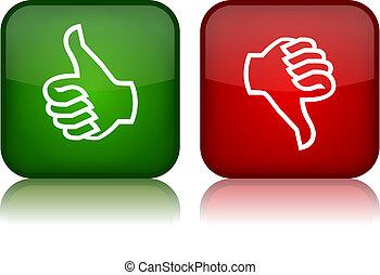 ボタン, 下方に, ベクトル, の上, 親指
