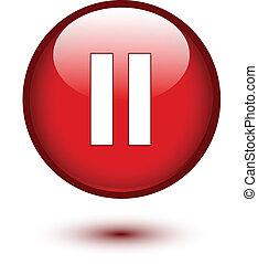 ボタン, 休止, グロッシー, 赤