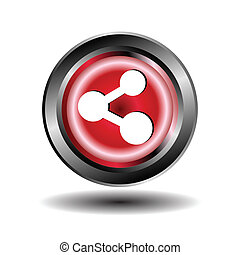 ボタン, 分け前, ベクトル, グロッシー, 赤, アイコン