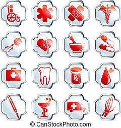 ボタン, 医学, 白, グロッシー