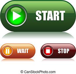 ボタン, 始めなさい, 止まれ