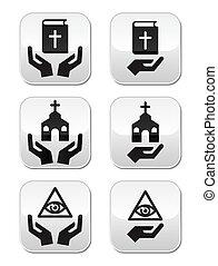 ボタン, 宗教, 聖書, -, 手