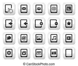 ボタン, 広場, セット, 灰色, タブレット