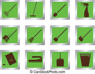 ボタン, 広場, 清掃, アイコン