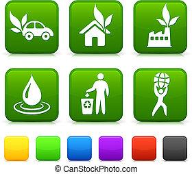 ボタン, 広場, 自然, アイコン, 環境, インターネット