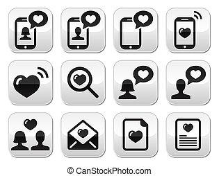 ボタン, 愛, セット, 日, バレンタイン