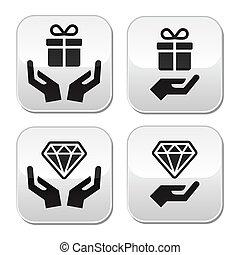 ボタン, 手, ダイヤモンド, プレゼント