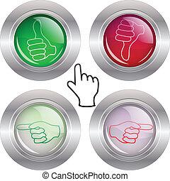 ボタン, 手