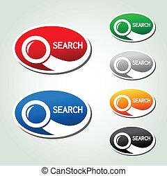 ボタン, 捜索しなさい, シンボル, ベクトル, オバール, magnifier, ステッカー