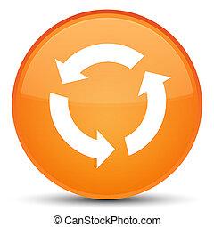 ボタン, 新たにしなさい, オレンジ, ラウンド, 特別, アイコン
