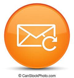 ボタン, 新たにしなさい, ラウンド, オレンジ, 電子メール, 特別, アイコン