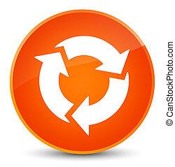 ボタン, 新たにしなさい, 優雅である, オレンジ, ラウンド, アイコン