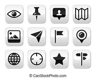 ボタン, 旅行, 現代, セット, 位置