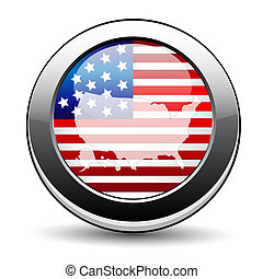 ボタン, 旗, アメリカ人