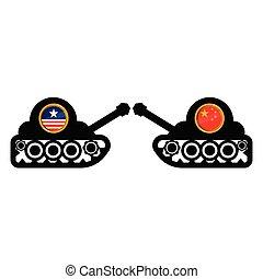 ボタン, 旗, タンク, 軍隊