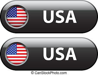ボタン, 旗, ベクトル, アメリカ