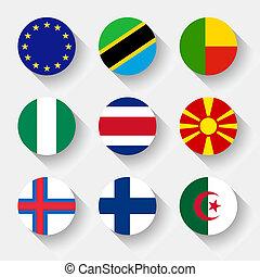 ボタン, 旗, ラウンド, 世界