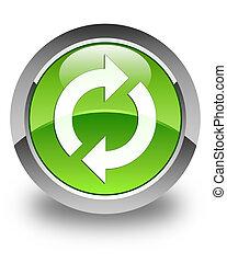 ボタン, 更新, 緑, グロッシー, ラウンド, アイコン
