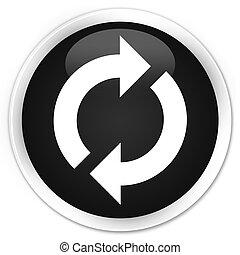 ボタン, 更新, 黒, グロッシー, ラウンド, アイコン