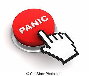 ボタン, 概念, パニック, イラスト