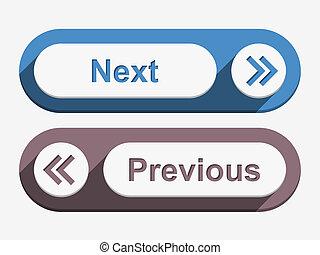 ボタン, 次に, 前
