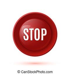 ボタン, 止まれ, グロッシー, 赤, アイコン