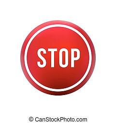 ボタン, 止まれ, ラウンド, 赤