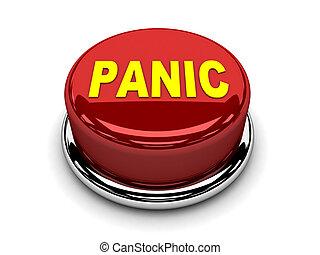 ボタン, 止まれ, 押し, パニック, 赤, 3d