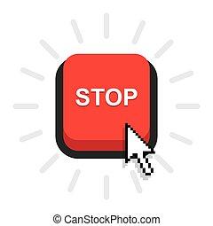ボタン, 止まれ, 赤