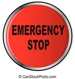 ボタン, 止まれ, 赤, 緊急事態
