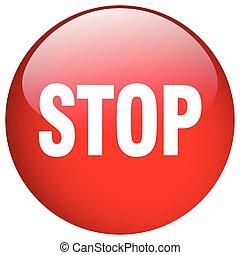 ボタン, 止まれ, 隔離された, 押し, ラウンド, 赤, ゲル