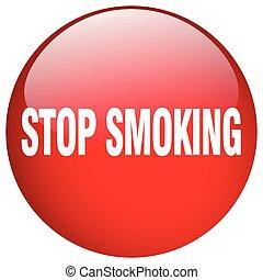 ボタン, 止まれ, 隔離された, 押し, 喫煙, ラウンド, 赤, ゲル
