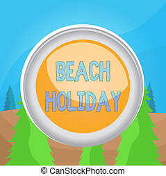 ボタン, 浜, 執筆, ビジネス, テキスト, 円, 有色人種, 1(人・つ), 中央, 中心, 概念, 日光浴をする, スイッチ, ただ, basically, holiday., 球, 背景, shaped., 休暇, 単語, ラウンド