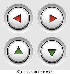 ボタン, 白, ベクトル, 円, 矢
