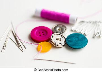 ボタン, 糸, 裁縫, スプール, 針, ピン