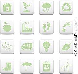 ボタン, 網, セット, エコロジー, アイコン