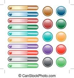 ボタン, 網, 色, セット, 分類される
